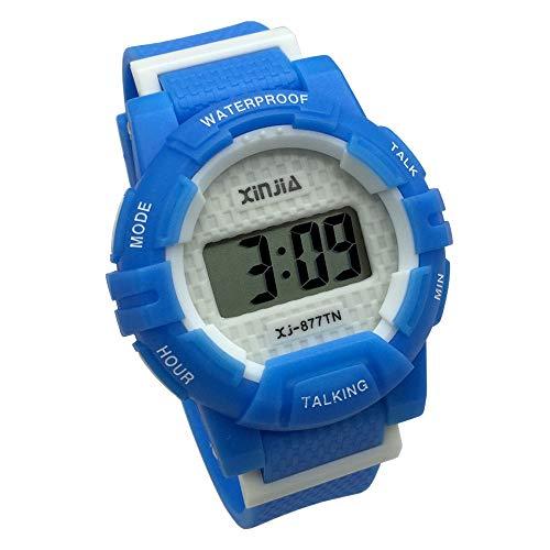 Azul Reloj Parlante en Español para Ciegos, Niños, y Los Ancianos, Deportes Electrónicos Hablar Relojes Gatget Regalo