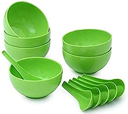 Accurrate Round Big Soup Bowl with Spoon Set, Green, 12-Pieces (Microwave Safe)