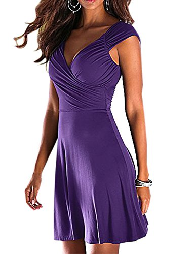 SOMTHRON Mujer Sexy Verano sólido Cuello en v Profundo sin Mangas una línea de Vestidos del Club sin Respaldo de la Manera Vestidos Mini Vestidos de Noche túnica Vestido de Fiesta(PE,M)