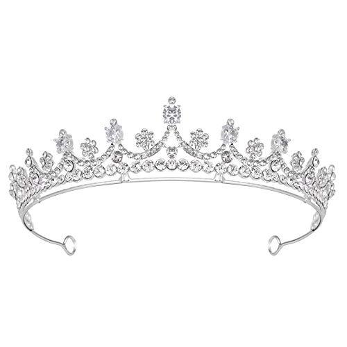 Coucoland Hochzeit Braut Tiara Prinzessin Kristall Diadem Vintage Königin Krone Geburtstagskrone Damen Festzug Fasching Kostüm Haare Accessoires (Silber)