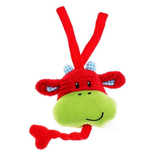 B Blesiya Peluche de Niños Decorativo Ornamentos Elegante para Colgar Miniatura Juguete de Niños - Toro Rojo