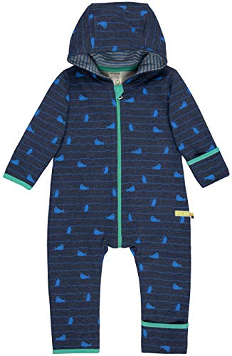 loud + proud Baby-Unisex Overall Druck Aus Bio Baumwolle, GOTS Zertifiziert Strampler, Blau (Midnight Mi), 68 (Herstellergröße: 62/68)
