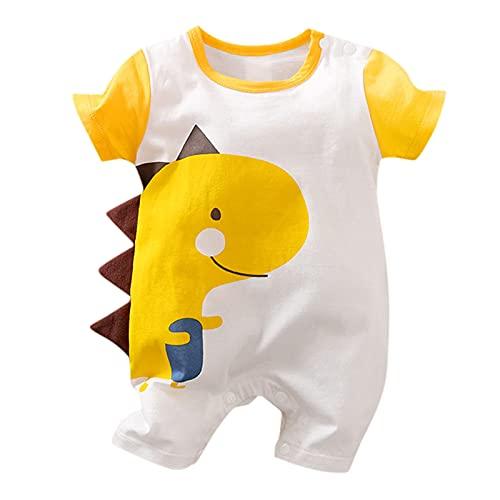 YWLINK Mono Bebé de Una Pieza Mameluco Pelele Footies para Niños Body Pijama Unisex de Algodón Romper Manga Corta de Bebé Recién Nacido con Estampado de Animales (0-18 Meses)