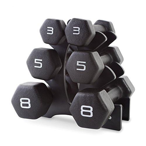 CAP Barbell Neoprene Dumbbell Set with Rack, 32 Pounds