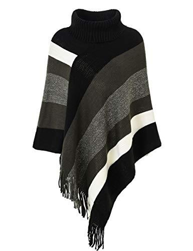 Ferand Eleganter Damen-Strick-Poncho, Oberteil mit Streifen-Muster und Fransen an den Seiten - Schwarz -