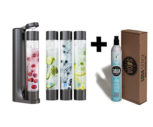 Fizzpod Soda Maker With CO2 Cylinder 3 Bottles (1L) .Make Homemade Sparkle Water, Juice, Coffee, Tea and Cocktail Drinks with Fruit (Black)