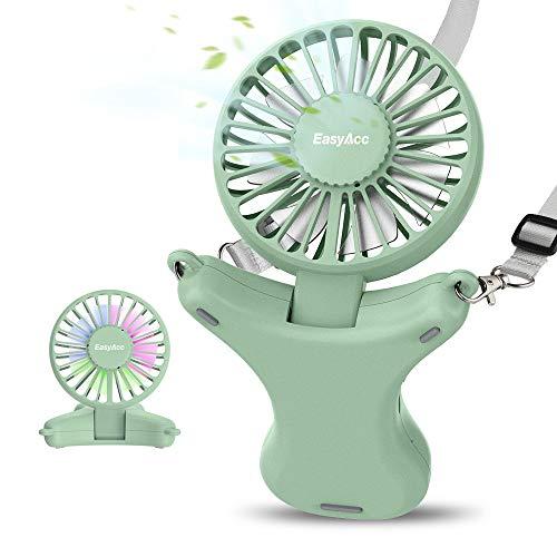 EasyAcc Ventilador de Collar 3350mAh Batería Recargable Ventilador Ajustable 100° USB Ventilador 3 velocidades 3-17 Horas Ventilador de refrigeración Personal para Acampar al Aire Libre Viajes-Verde