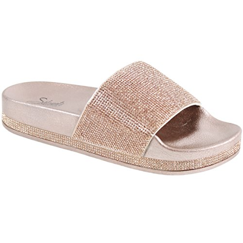 CLOVERLAY Women's Rhinestone Glitter Crystal Slide Footbed Platform Sandal Slippers (9, Rose Gold)
