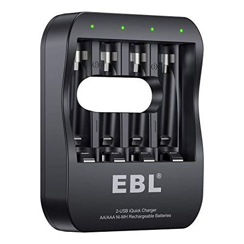 EBL Inteligente Cargador de Pilas, 4 Ranura Independiente Cargador para AA AAA Pilas Recargables 2 Modos Puertos (Micro USB y USB-C)