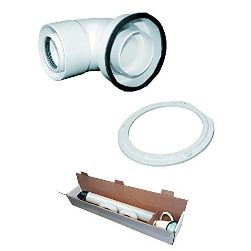 Kit Fumi Coassiale in Pps e Pvc per Caldaia a Condensazione Bosch Junkers Compatibile Completo di Curva