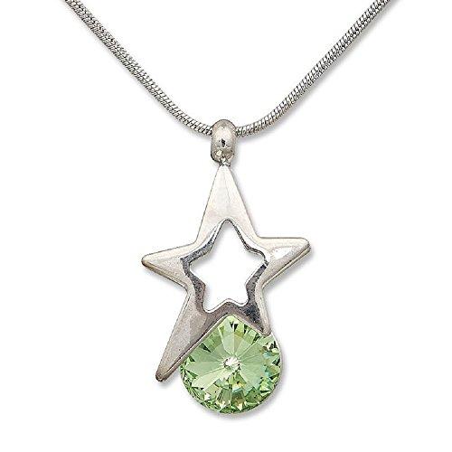 Cadena Collar con Colgante Estrella con Swarovski Elements Peridot verde