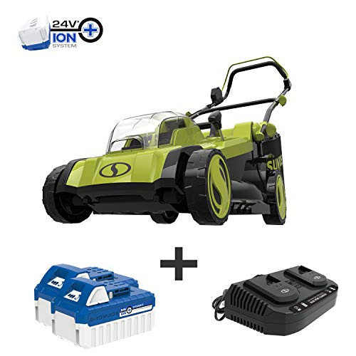 Sun Joe 24V-X2-17LM Mulching Lawn Mower w/Grass Catcher, Kit (w/ 2X 4.0-Ah Battery and Charger)