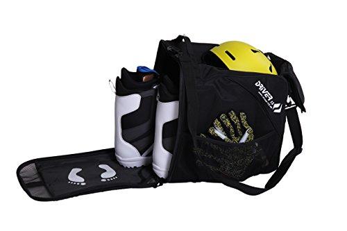 Driver13 ® Skischuhtasche Skistiefeltasche mit Helmfach für Hart Softboots Inliner und Bootbag Tasche schwarz