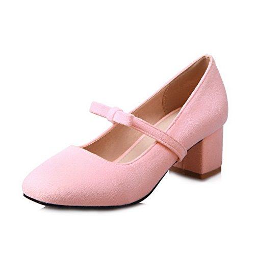 CosyFever Zapatos de Tacón Mary Jane Chunky Bajo conSólido Pajarita Cerrado DC48 para Mujeres Rosa - 39.5 EU