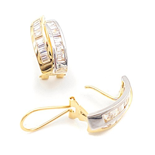 Earrings Women Two Tone White and Yellow 18K Gold with 2lines Curves CZ Baguette Earrings in Channel and Fantastic Omega Closure. Real Weight 3.0grams