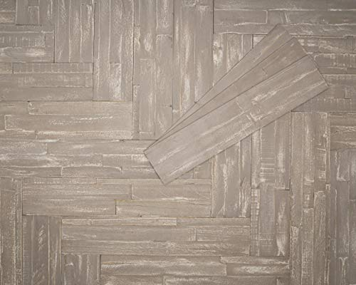 mywoodwall 3D Wandverkleidung Holz Beige Inkl Doppelseitiges Klebeband Martini Moderne Wand- und Decken-Paneele Selbstklebend Vintage Wohnzimmer Schlafzimmer Garderobe