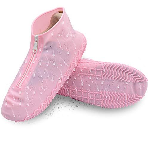 DolDer Überschuhe, Silikon Schuhüberzieher wasserdicht Schuhe Silikonschuhe perfekt für Regen, Wandern und Gassi Gehen Hund, Regenüberschuhe (Größe L, pink)