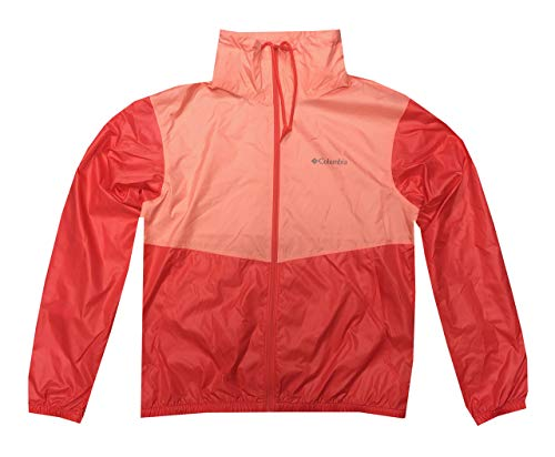 Columbia Womens Morning View Collared Full Zip Windbreaker Jacket (XL, Coral)