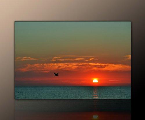Wand-Deko - Sonnenuntergang Rügen - Leinwand auf Keilrahmen Wandbilder Ostseebild (zingst_60x90cm) auf ECHTER Leinwand gerahmt - DRuck auf Leinwand - Bilder fertig gerahmt mit Keilrahmen riesig. Ausführung Kunstdruck auf Leinwand. Günstig inkl Rahmen