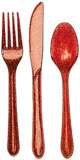 24-Piece Glitz Premium Plastic Cutlery Assortment, Red Glitter