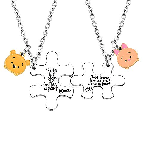 LUXYSODE - Best Friend Necklaces - Side by Side or Miles Apart BFF Gifts...