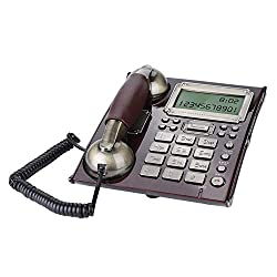 European Retro Landline Telephone Fixed Antique Vintage Desktop Wall-Mounted Dual-use Telephone with Volume Control Multiple Alarm Clocks for Office Home Hotel Descoration(Red Peach Wood)