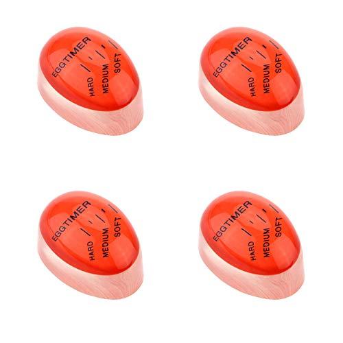 4 Piezas Temporizador para Huevos Hervidos Temporizador de Huevos Cocidos temporizador de Huevos Duros Cocedor de Huevos de Silicona Indicador que Cambia de Color Huevo Hervido Suave, Medio, Duro