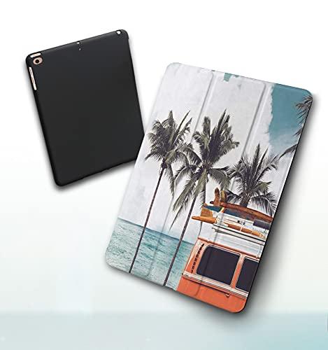 Funda para iPad 9,7 Pulgadas, 2018/2017 Modelo, 6ª / 5ª generación,Vintage Car estacionado en la Playa Tropical (Junto al mar) con una Tabla de Surf en Smart Leather Stand Cover with Auto Wake/Sleep