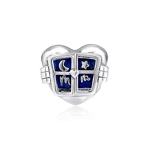 LILANG Pandora 925 Pulsera de joyería Natural se Adapta a Ventana corazón Encanto Cuentas de Plata esterlina para Berloques Mujeres Regalo DIY