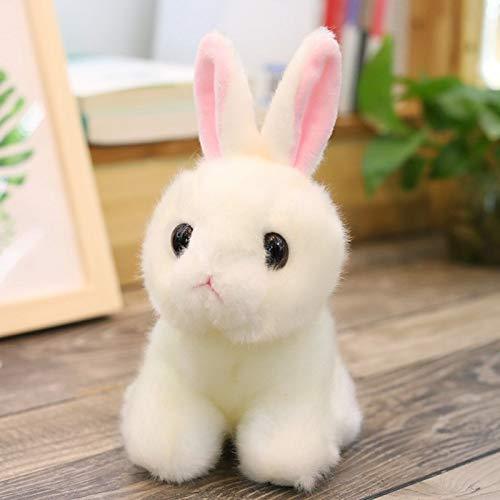 Juguete de peluche de conejo, bonito para bebé, mini cojín de conejo, color blanco, juguete de edredón para niños recién nacidos, para acompañar el sueño, cumpleaños y San Valentín