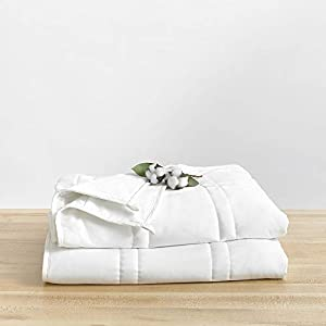Baloo Weighted Blanket for Adults, 15 lbs 60x80 inches, Fits Queen Size Bed TOP, Eco-Friendly Luxury, Chemical-Free, Soft Cool Cotton in Pebble White Color, Lead-Free Glass Beads, Double Quilted