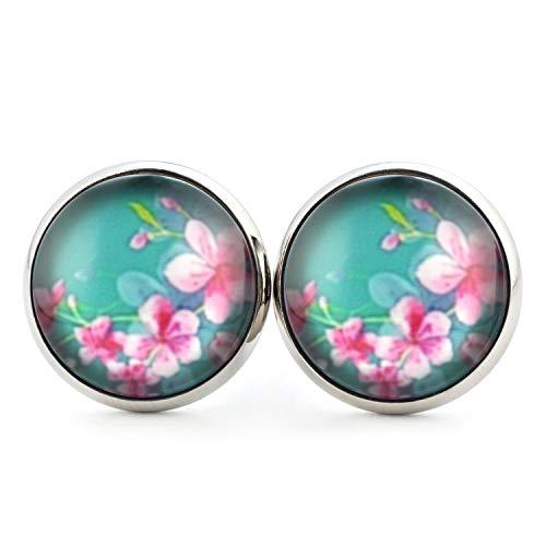 SCHMUCKZUCKER Damen Ohrstecker Motiv Sommer Blüten Edelstahl Blumen Ohrringe Silber Türkis (14mm)