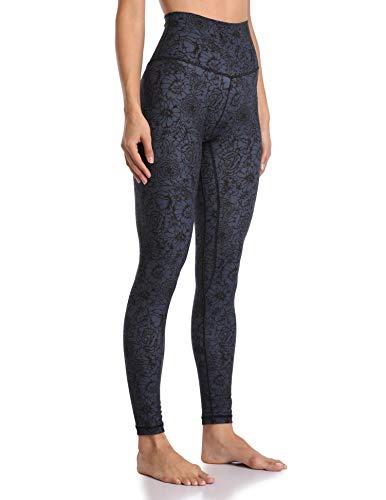 Colorfulkoala Women's High Waisted Pattern Leggings Full-Length Yoga Pants (M, Navy Flowers)