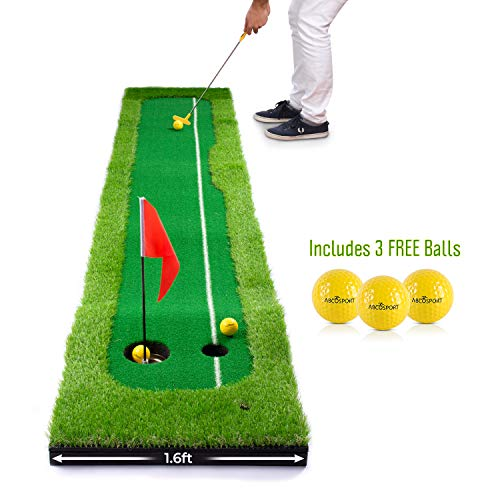 Abco Tech Synthetic Turf Putting Practice Indoor Golf Mat – Life-Like Artificial Green Turf Grass – Includes 3 Bonus Balls – Long-Lasting Design (1.6ft x 10ft)
