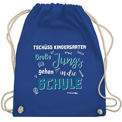 Shirtracer Einschulung und Schulanfang - Tschüss Kindergarten Große Jungs - Unisize - Royalblau - geschenke zur einschulung - WM110 - Turnbeutel und Stoffbeutel aus Baumwolle