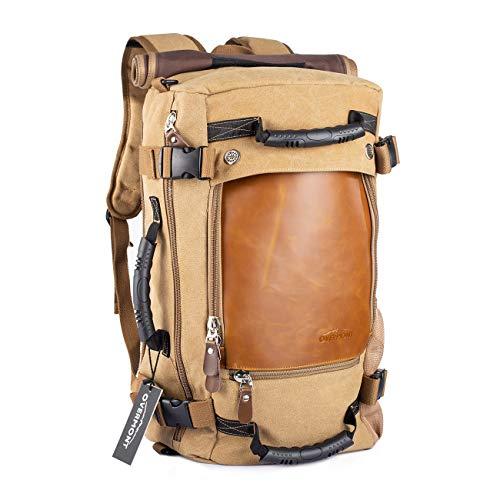 OVERMONT 40L Multifuncional portátil Vintage Mochila Bolsa Macuto de Lona Cuero para excursión Camping Senderismo Acampada Viaje activiadad al Aire Libre Caqui/Negro