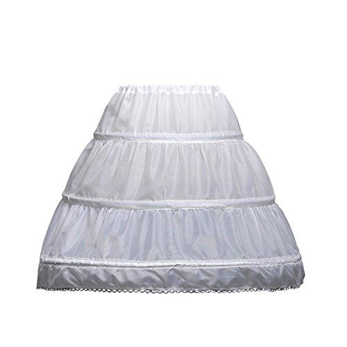 LULUSILK Kids Crinoline Petticoat with 3 Hoops, Full Length Flower Girl Underskirt, White