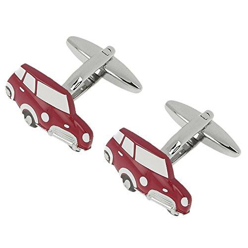 CUFF IT Neuer Stil Herren Manschettenknöpfe Mini Auto Neuheit Manschetten Knöpfe mit Geschenk-Box (Rot , Blau)