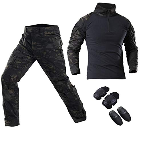 SGOYH Herren Schießen Jagd BDU Combat Sets Camo Taktische Softair Paintball Uniform Hose Shirt mit Knieschützern & Ellbogenschützern (XXL,Schwarz-CP)