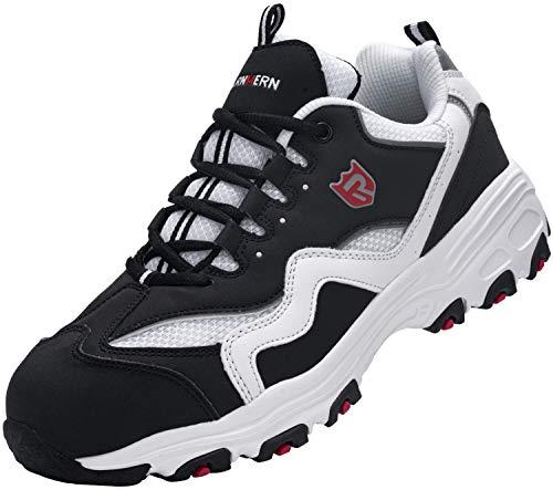 Zapatos de Seguridad Hombre,L91169 SBP Zapatillas de Trabajo con Punta de Acero Ultraligero Transpirables 45 EU,Blanco Negro