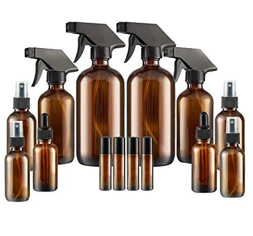 Glass Spray Bottle SXUDA Amber Glass Spray Bottles Set Roller Bottles Cleaning Products or Aromatherapy 16OZ 8OZ 4OZ 2OZ 2OZ Dropper Bottle x 2 10 ml Roller Bottle x 4