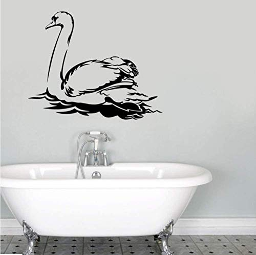 N-P Calcomanías de Pared de Cisne de Aves acuáticas de Animales Pegatinas de Pared artísticas de Vinilo a Prueba de Agua decoración de Sala de Estar autoadhesiva 72 * 59Cm