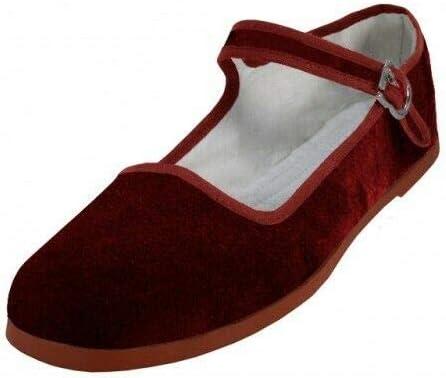 Easy USA Women s Cotton Velvet China Doll Mary Jane Shoes 6 Velvet Burgundy product image