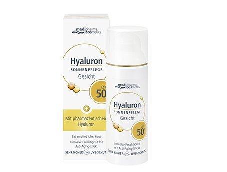 Hyaluron Sonnenpflege Gesicht LSF 50+ Schützt, wirkt vorzeitiger Hautalterung entgegen und spendet intensive Feuchtigkeit von Medipharma