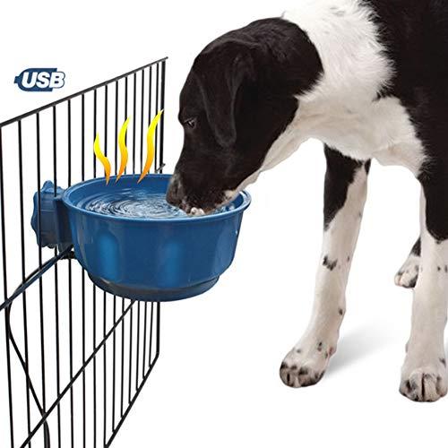 PJDDP Hund Heizung Bowl Für Innen, Geheizt Fressnapf Mit Hängenden Handgriff, USB Hundebox Schüssel Wasser Und Futter Bowl-Runde, Hund Thermal-Bowl Für Küken, Hörnchen, Kleine Hunde, Blau,Darkblue