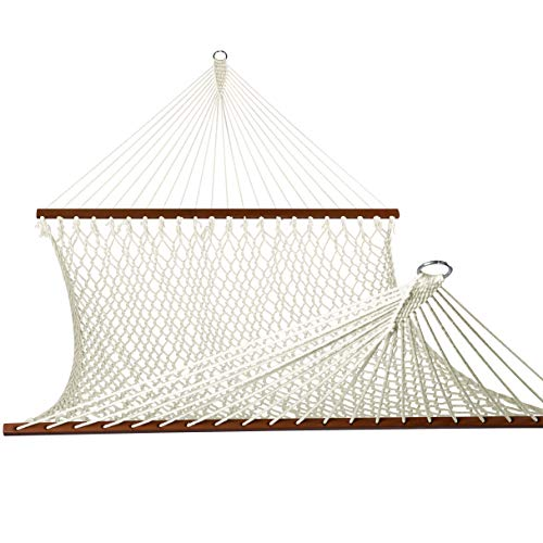 Lazy Daze Hammocks Polyester Rope Double Hammock with Wood Spreader Bar, Chains and Hooks, for Two Person, 450 Pounds Capacity, Natural