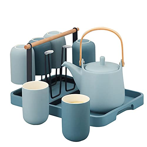 Simple Ceramic Drinking Ware Set Household Large Capacity 1100ml/38.7oz Flower Teapot Cold Kettle Tea Mug Water Cup Tray Cup Holder 9 Piece Set (Color : Blue)