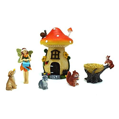 Chiyyak Minifigura de hadas de resina, figura de jardín en miniatura, paisaje, ornamentos, animales, hada, decoración para terrazas, porches, césped, maceta