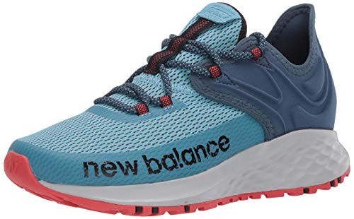 New Balance Women's Fresh Foam Roav Trail V1 Sneaker, Wax Blue/Stone Blue/Toro Red, 7 W US