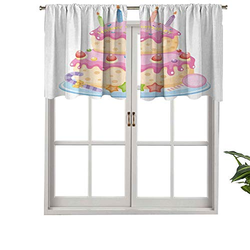Hiiiman Blackout Curtain Valances Anti-UV Pastel Colored Birthday Party Cake with Candles Candies, Set of 2, 54'x36' for Indoor Dining Room Bedroom